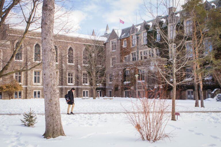 Outside Hamilton Hall in the winter