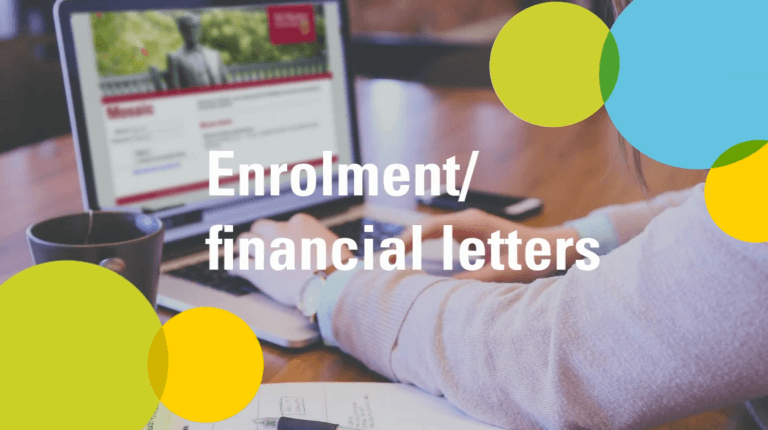 Enrolment/financial letters