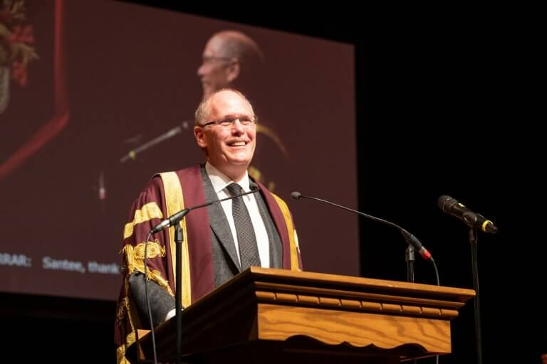 President David Farrar addresses the audience