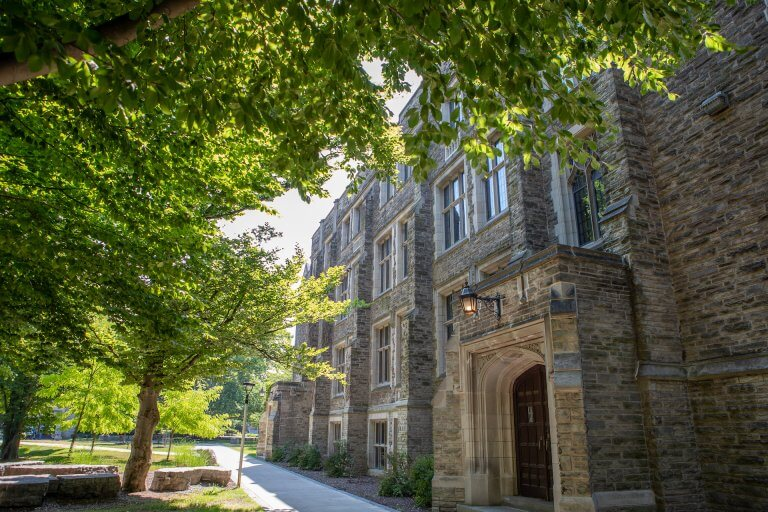 Outside Hamilton Hall in the summer