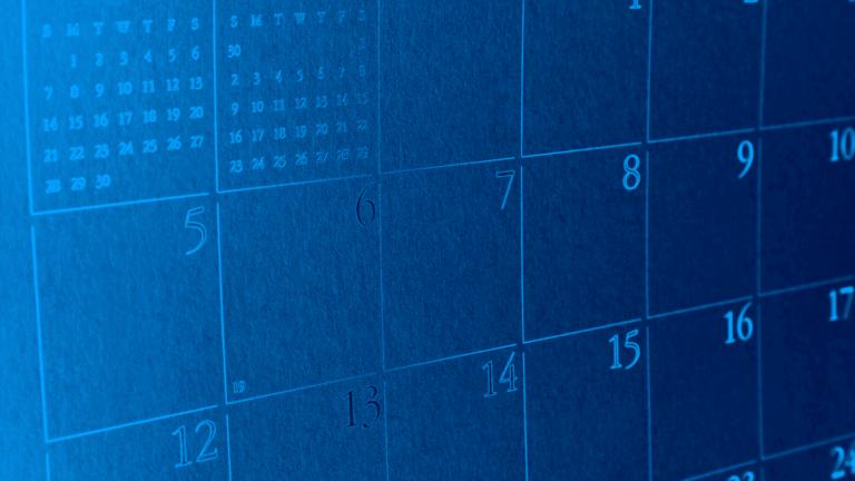 Photo of a blue calendar